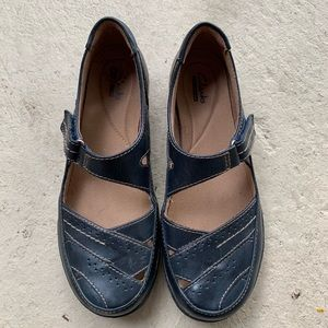 Clarks Collection Navy Blue Leather Shoes Size 8